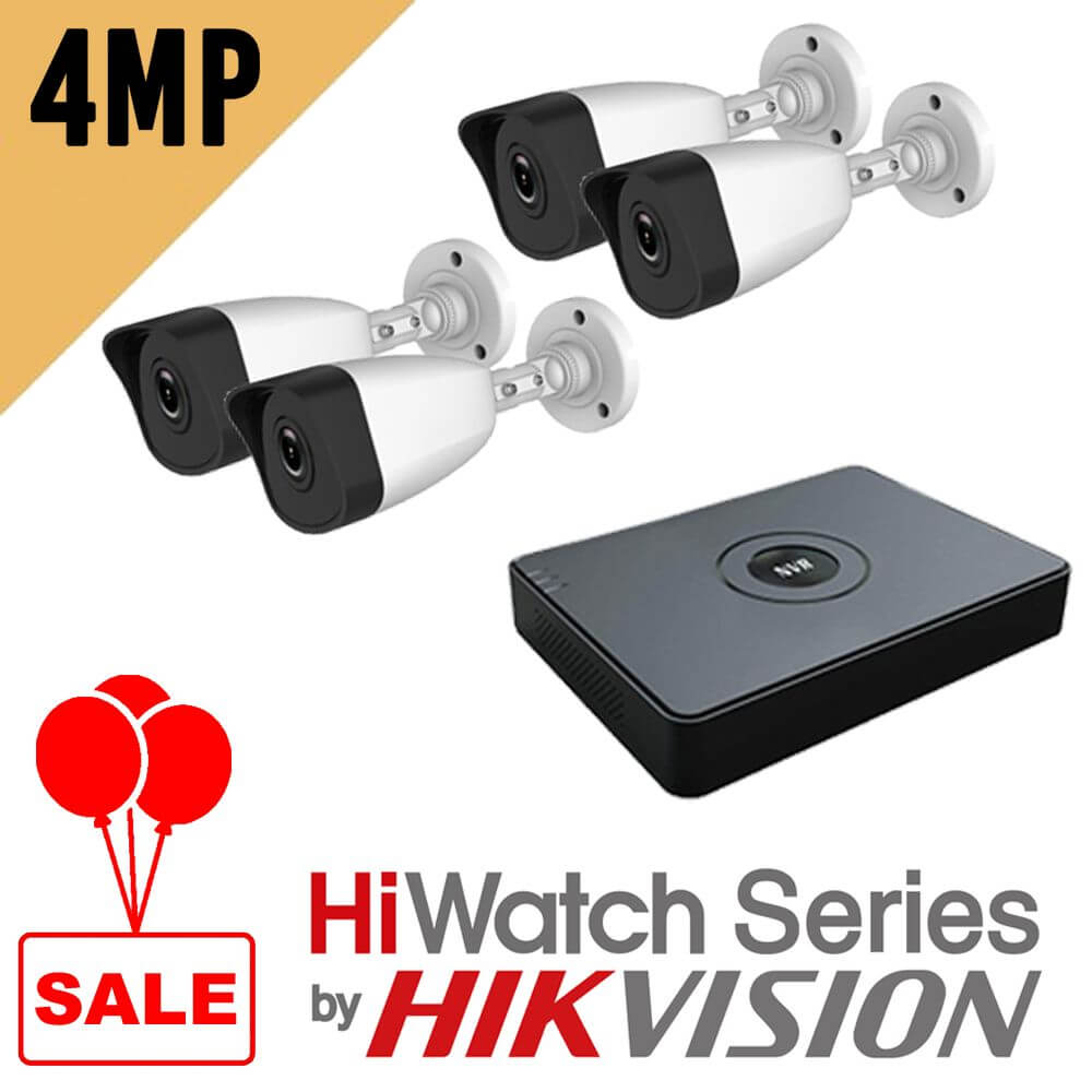 4MP IP Kit B140 with 8 Channel NVR-108-8A/8P Hiwatch Kit