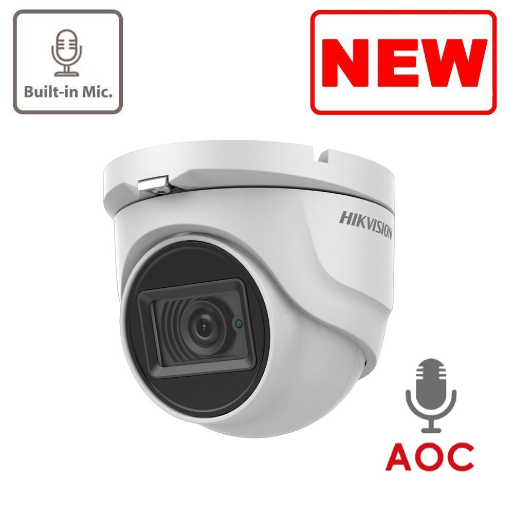5MP DS-2CE76H0T-ITMFS Hikvision HD-TVI 2.8mm Fixed Lens Turret Camera, 30m IR, Built-In Mic, AoC