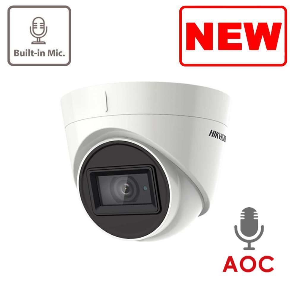 5MP DS-2CE78H0T-IT3FS Hikvision HD-TVI 2.8mm Fixed Lens Turret Camera, 40m Smart IR, Built-In Mic